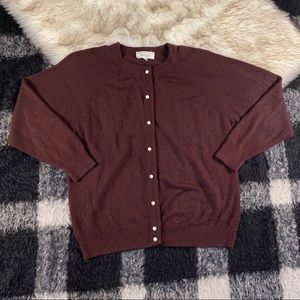 Vtg lord & Taylor maroon brown cardigan sweater 40